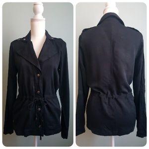 Mossimo Smart Black Drawstring Waist Jacket